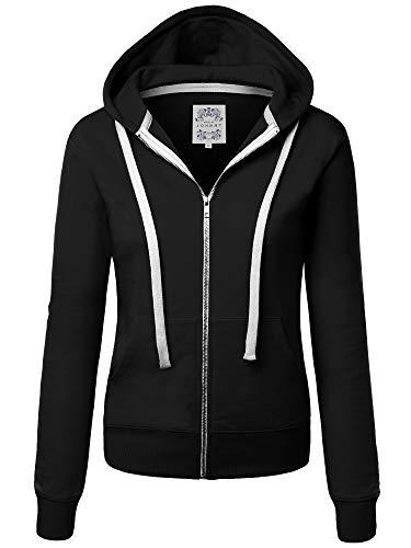 Made By Johnny MBJ WSK954 Womens Active Fleece Zip Up Hoodie Sweater Jacket S Black