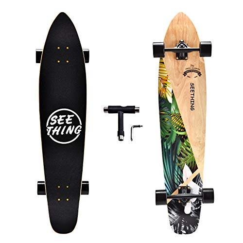 seething 42 Inch Longboard Skateboard Complete Cruiser,The Original Artisan Maple Skateboard Cruiser for Cruising, Carving, Free-Style and Downhill(Jungle)