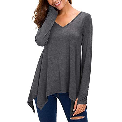 TIFIY Damen Solide Shirt V-Ausschnitt Taschentuch Pullover Langarm Top Frühling Asymmetrisch Sweatshirt Oberteile (Dunkelgrau,EU-34/CN-S)