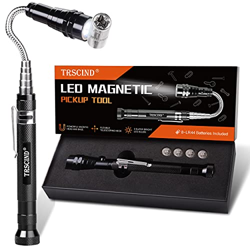 Gifts for Men Dad, Magnetic Pickup Tools for Men, Birthday Gifts for Him Boyfriend Husband Grandpa Guy, Cool Stuff, Unique Gadgets, Telescoping Flexible Extensible Magnet Tools with 3 LED Lights