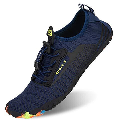 Herren Damen Outdoor Fitnessschuhe Barfußschuhe Trekking Schuhe Badeschuhe Schnell Trocknend rutschfest(Navy,43 EU)