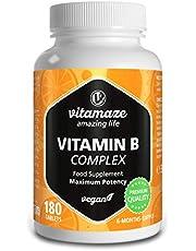 Vitamine B Complex Hoge Dosis Veganistisch, 180 Tabletten 6 Maanden Voorraad, Alle Vitaminen van Groep B B1, B2, B3, B5, B6, B7, B9, B12, Voedingssupplement zonder Additieven, Made in Germany