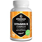 Vitamaze Vitamin B Complex, 180 High Dose Vegan Tablets for 6 Months, Complete Vitamin B Group B1, B2, B3, B5, B6, B7, B9, B12, Natural & Organic Supplement Without Additives, German Quality