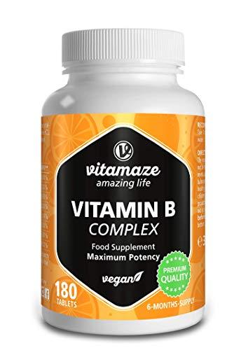 Vitamaze® Vitamina B Complex con 180 Tabletas Veganas de Dosis Alta del para 6 Meses de Suministro B1, B2, B3, B5, B6, B7, B9, B12, Organica Suplemento sin Aditivos Innecesarios, Calidad Alemana