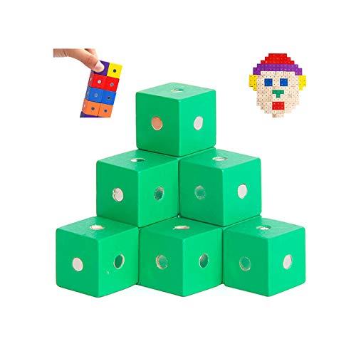 JMG 27 Pcs 0,7 Pulgadas Cubos de Madera Bloques de Madera para la artesanía de Madera, Cubos de Madera, Bloques de Madera (Colorido), 2cm,Verde