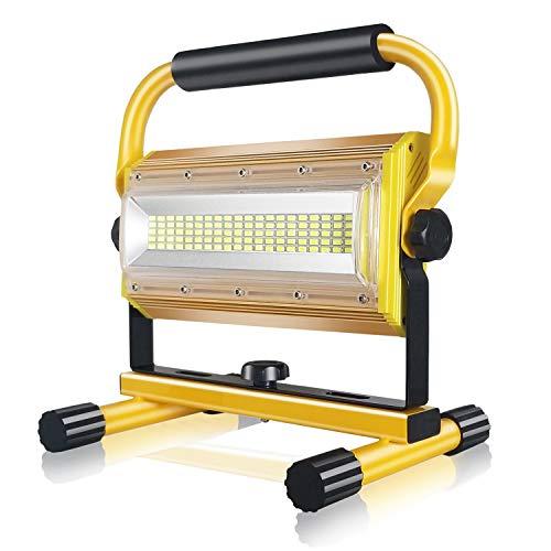 SONEE - Foco LED recargable (100 W, impermeable, superbrillante, luz de trabajo, portátil, con soporte para taller, construcción, camping, senderismo, camión, reparación, luz del sitio de trabajo