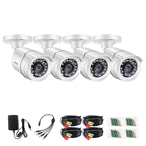 ZOSI 4 Pack FHD 1080P 2MP Security Bullet Cameras (Hybrid 4-in-1 HD-CVI/TVI/AHD/960H Analog CVBS),1920TVL Day Night Weatherproof CCTV Camera Indoor Outdoor, Night Vision Up to 20 Meters