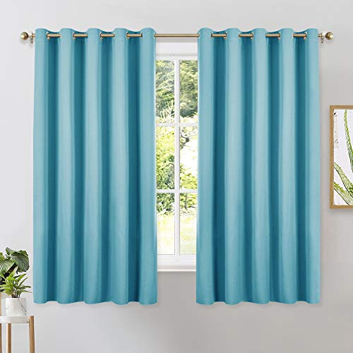 NICETOWN Thermal Insulated Curtains Blackout Draperies, Window Treatment Solid Grommet Room Darkening Drape Panels for Bedroom (Teal Blue, Set of 2, 70 by 63 inches Long)