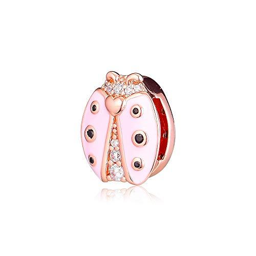 WUXEGHK Clip De Mariquita Rosa Abalorios De Plata 925 Joyería De Plata Esterlina Se Adapta A La Pulsera De Reflexiones Kralen Berloque Perles