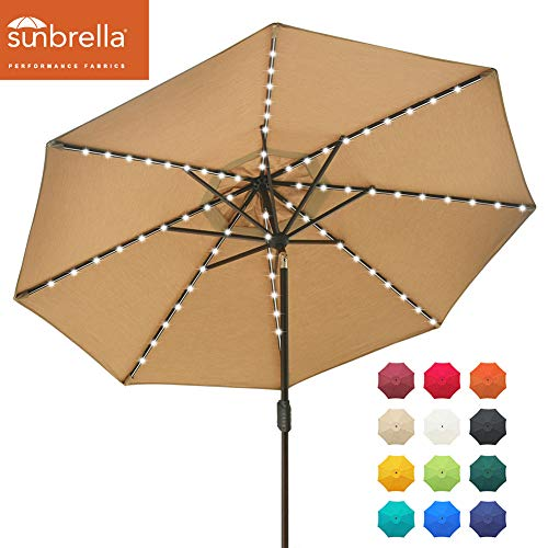EliteShade Sunbrella Solar Umbrellas 9ft Market Umbrella with 80 LED Lights Patio Umbrellas Outdoor Table Umbrella with Ventilation and 5 Years Non-Fading Top,Heather Beige