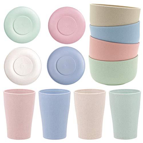 Hemoton Juego de vajilla de paja de trigo de 12 piezas ligero tazón plato taza Set de vajilla para picnic fiesta barbacoa regalo boda camping