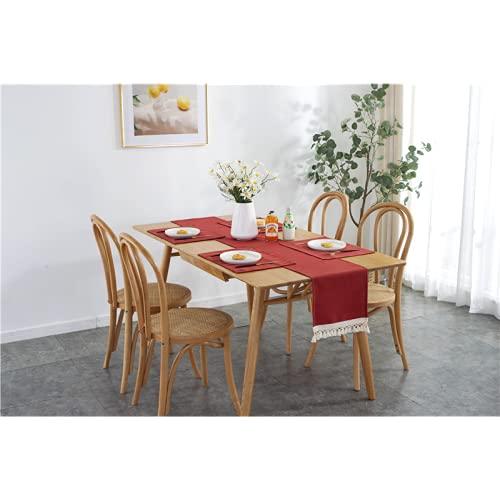 lixiangjia Juego de 4 manteles individuales y manteles individuales, resistentes al calor, antideslizantes, lavables, para cocina y comedor, color rojo morado (30 x 140)
