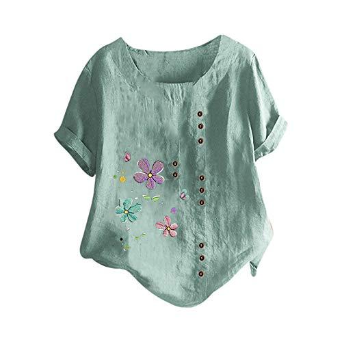 T-Shirt de Mujer Estampado de Flores de Diente de LeóN Talla Grande AlgodóN Y Lino Botón Vertical de Mujer Camiseta Manga Corta Mujer Simple Cuello Redondo Blusa Womens Remeras