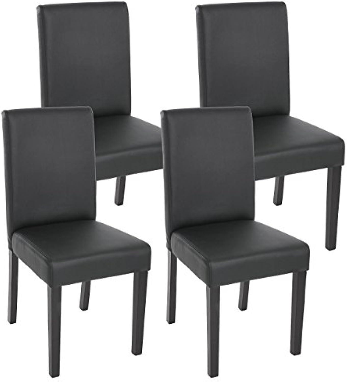 Mendler 4X Esszimmerstuhl Stuhl Lehnstuhl Littau  Kunstleder, schwarz matt, dunkle Beine