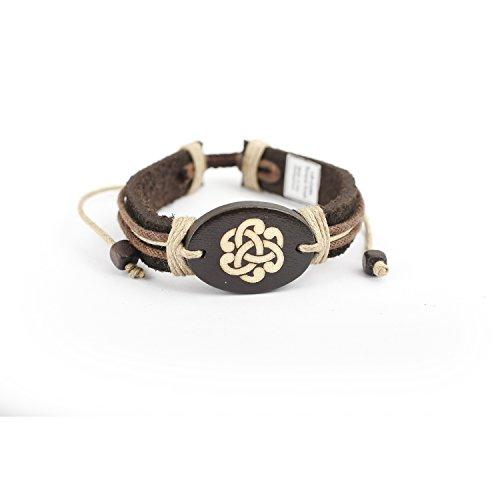 JewelryVolt Adjustable Leatherette Bracelet Celtic Torque Knot
