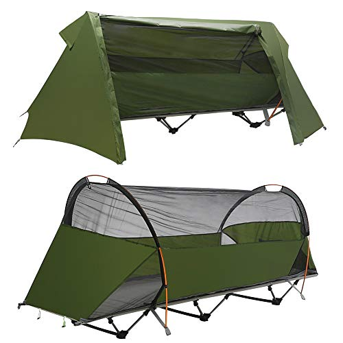 Night Cat Camping Zelt mit Liege Off Ground Zelt Ein-Personen-Kinderbett Zelt Wasserdicht Tragbar Zusammenklappbar Einfach für den Außenbereich einzurichten Reisen Angeln Wandern Picknick Freizeit