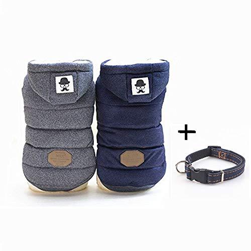 Joopet Puppy Pet Dog abbigliamento invernale super calda giacca con bottoni frontali outfit costumi blu grigio