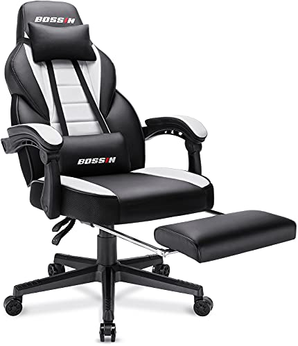 BOSSIN Racing Style Gaming Chair, 400LBS Leather Computer Desk Chair with Footrest and Headrest, Ergonomic Heavy Duty Design, Large Size High-Back E-Sports, Big and Tall Gaming Chair (White)