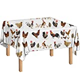 WELLFLYHOM Tablecloth Washable, Stain and Wrinkle Resistant Washable Polyester Table Cloth, Fun Chicken Cock Animal Print, Decorative Fabric Table Cover for Dining Table, Buffet Parties, White
