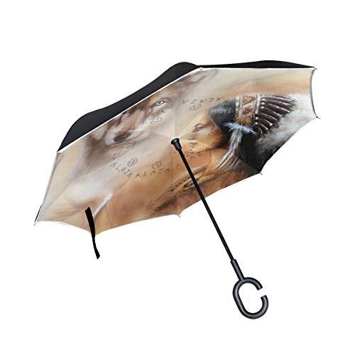 rodde Doble Capa Invertida Mujer India Lobo Paraguas Coches reversa Paraguas de Lluvia a Prueba de Viento para Coche al Aire Libre con Mango en Forma de c