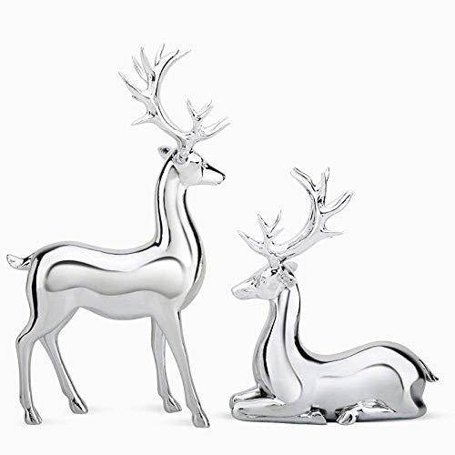 Adornos de Estatua Esculturas Estatuilla Estatuilla de Animales Adornos Resina de Oro Estatuilla de Ciervo Jardín de Hadas Estatua en Miniatura Escultura Hogar Sala de Estar Decoración Artes