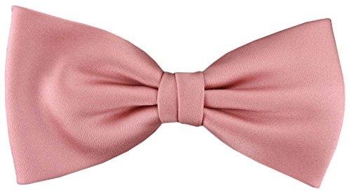 TigerTie vorgebundene Satin Fliege in rosa hellrosa Uni einfarbig + Geschenkbox