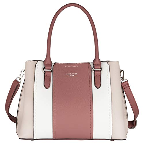 David Jones - Dames Handtas Meerkleurig - Gestreept Tote Shopper Bag PU Leer - Hengseltas Schoudertas - Crossbodytas Citytas - Kleurrijke Patchwork Tassen - Mode Elegant Alledaags - Roze