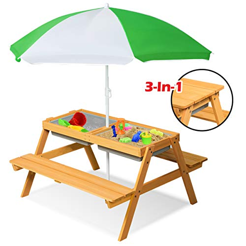 Costzon Kids 3 In 1 Convertible Picnic Table Set, Sand & Water Table with Removable & Height Adjustable Umbrella, Children Outdoor Indoor Toy Playset w/2 Play Boxes, Wood Activity Play Table (Natural)