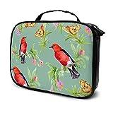 Hermosas Flores y pájaros Coloridos viajan Bolsa de cosméticos Mediana Bolsa de Viaje de Maquillaje Organizador Bolsa de Aseo niñas Bolsa Impresa multifunción para Mujeres