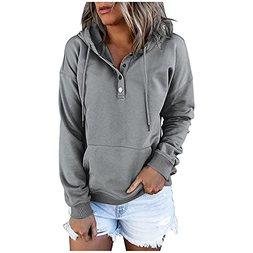 Sudaderas con capucha para mujer con botón de color sólido O-cuello casual de manga larga suéter de bolsillo sudaderas, gris, 3XL