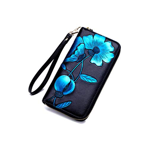 Monederos Carteras para Mujeres Billetera Grande Piel Genuina Regalos Originales Moderna Chica Señora para Teléfono Movil Tarjetero De Cuero Delgada (Azul)