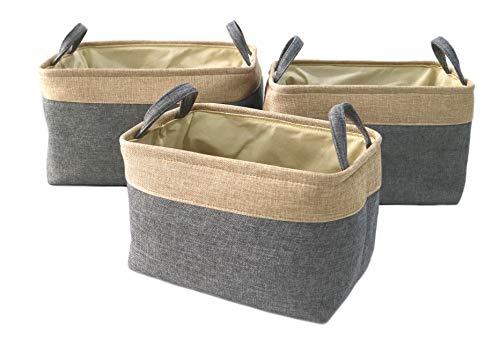 Clay Roberts Storage Hamper Set, 3 Pack, Grey Base, Storage Baskets, Home and Office Storage
