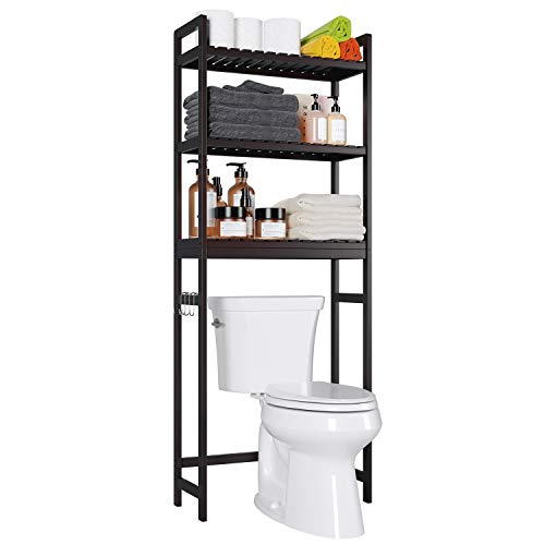 "Homfa Bamboo Over-The-Toilet Storage Rack, 3-Tier Bathroom Freestanding Shelf with 6 Hooks Plant Stand Multipurpose Organizer Space Saver for Laundry, Balcony, 24.4""L X 10.24""W X 64.17""H (Brown)"