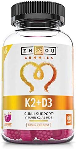 Zhou Vitamin K2 MK7 with D3 Gummies Bone and Heart Health Formula Immune Support 60 Veggie Gummies product image