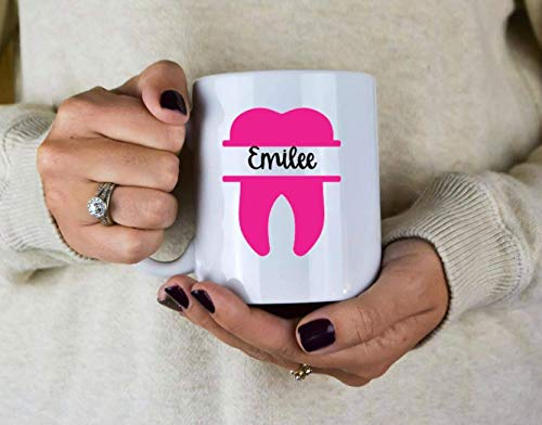 Taza de café personalizada Taza de escuela dental - Asistente dental - Taza de dientes - Futuro dentista - Regalo para dentista - Regalo de higienista dental - Regalo de escuela dental - Monograma Non
