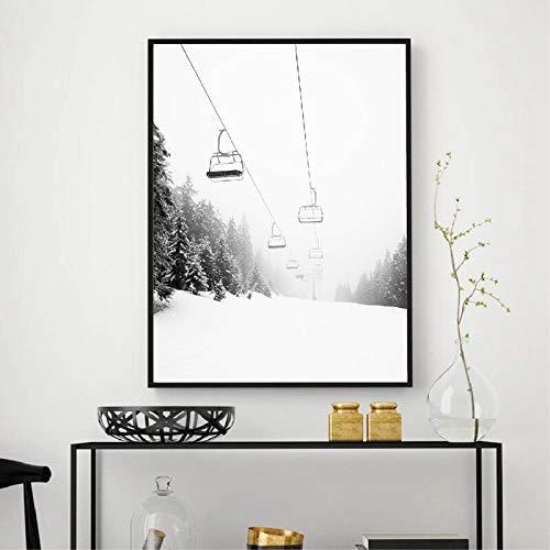 zhuziji DIY Malen nach Zahlen Schwarzweiss-Fotografie-Wandkunstmalerei des Skibergs, die Bild der modernen nordischen Hauptdekoration des Skiliebhabergeschenks schenkt50x70cm(Kein Rahmen)