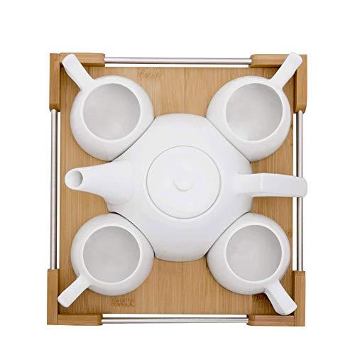 Initial heart Kreatives Keramikbecherset, Einfaches Zuhause, Teeset/Kaffeeset/Bambusschale/Weiße Teekanne, 4-Tassen-Set,Weiß