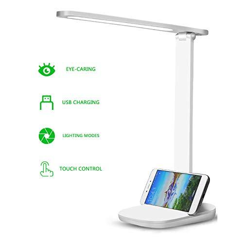 Lámpara de Escritorio LED, Lámparas de Mesa USB Regulable, Cuidado a Ojos Desk Lamp, 5 Niveles de Brillo, 3 Modos,Función de Memoria, Control Táctil, para Leer[Clase de eficiencia energética A+]