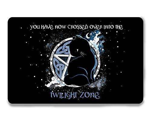 Katzen Fußmatte Pentagram Katze Twilight Zone Gothic Teppich Fußabtreter Türmatte schwarz 60x40, Filz, waschbar