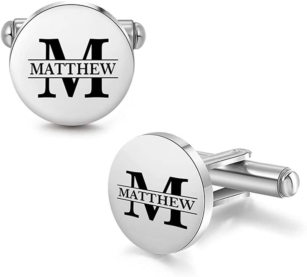 ROSI Personalized Name Cufflink for Men,Customize Wedding Cufflink,Initial Letter Name Shirts Cufflinks Gifts for Men,Birthday Christmas Business Gifts for Boyfriend,Husband