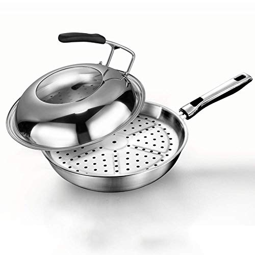XHNXHN Wok de Acero Inoxidable - 32-34 cm/Antiadherente - Cocina de inducción de Estufa de Gas Universal - manijas Stay-Cool, A-32 cm, A, 32 cm