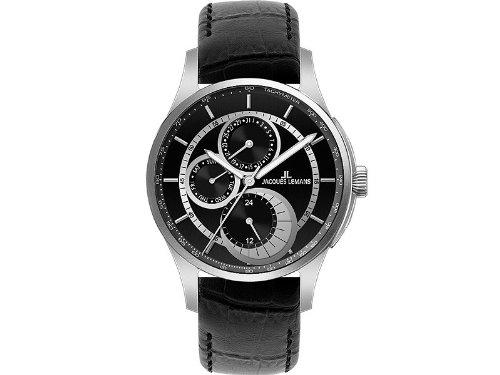Jacques Lemans 1-1689A - Reloj analógico de Cuarzo para Hombre con Correa de Piel, Color Negro
