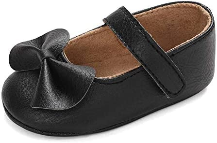 LACOFIA Bailarinas Princesas Bebé Niñas Zapatos Bowknot Bebé Primeros Pasos con Suela Suave Antideslizante Negro 6-12 Meses