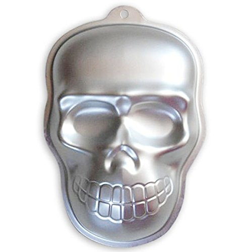 WJSYSHOP 10 Inch Skull Shaped Aluminum 3D Cake Mold Baking Mould Tin Cake Pan for Halloween Party