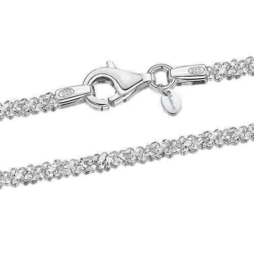 925 Sterling Silver 2 mm Snow/Rock Chain Necklace Size: 16 18 20 22 inch / 40 45 50 55 cm (22inch/55cm)