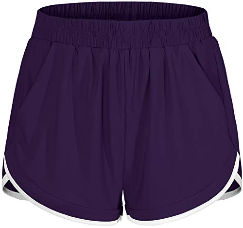 Blevonh Womens Workout Shorts,Ladies Over-Sized Stylish Flattering Running Biker Short Attached Undershorts Woman Fast Dry Materials Fitness Climbing Bottoms with Baseball Shirts Purple 2XL