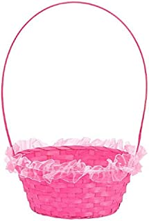 Amscam Ruffled Straw Basket, 16