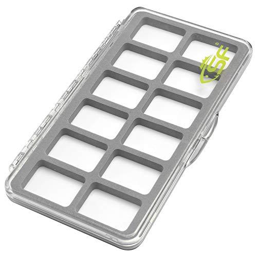 SF Plastic Waterproof Pocket Fly Fishing Box Double Side Clear Lid Easy Slit Foam