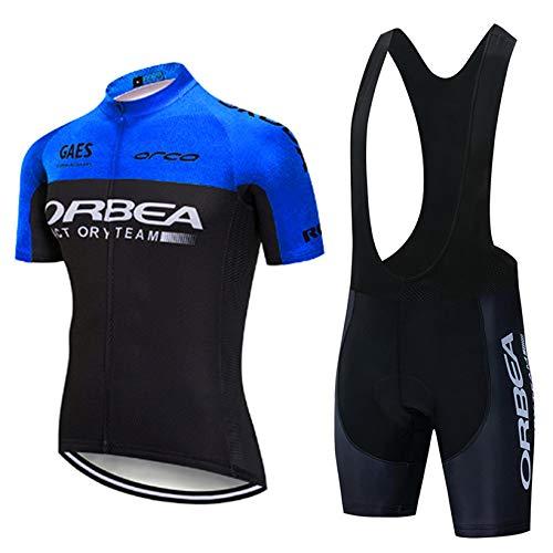 Ropa de Ciclismo Hombre Traje de Bicicleta Conjunto de Verano Ropa MTB + Pantalones Cortos Almohadilla de Asiento de Gel para Montar En Bicicleta Conjunto Cómodo y De Secado Rápido