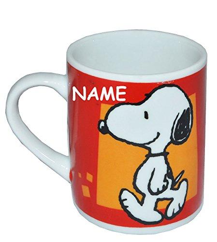 alles-meine.de GmbH Espressotasse klein - Snoopy Peanuts - Porzellan / Keramik - incl. Name - Trinktasse mit Henkel Tasse / Becher Porzellantasse - Espresso - Tassen für Kinder M..
